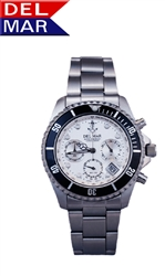 Men's Anchor White Dial 200 Meter Chronograph Watch from Del Mar Watches