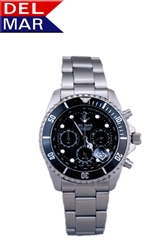Men's Anchor Black Dial 200 Meter Chronograph Watch from Del Mar Watches