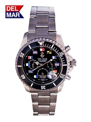 Black Nautical Flag Dial 200 Meter Chronograph Watch from Del Mar Watches