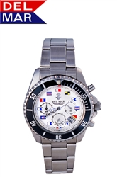 White Nautical Flag Dial 200 Meter Chronograph Watch from Del Mar Watches