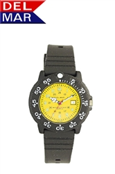 Ladies 200 Meter Yellow Dial PU Watch