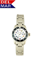 Ladies Stainless Steel Nautical Dial Watch